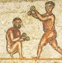 Two fighting athletes