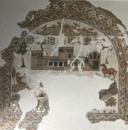 Mosaïque trilobée représentant une exploitation agricole : Les écuries