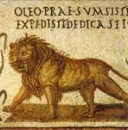 Lion et quatre tiges de millet